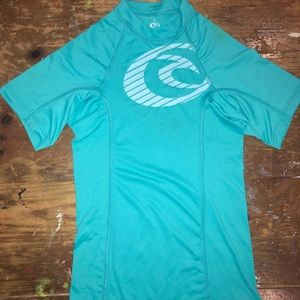 Girls swim shirt with 50 SPF protection. Size 6.